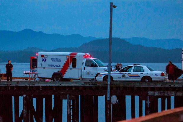 Rescue personnel mounting a search for victims of a capsized whale watching boat park on a wharf in Tofino, British Columbia REUTERS/Adam Chilton