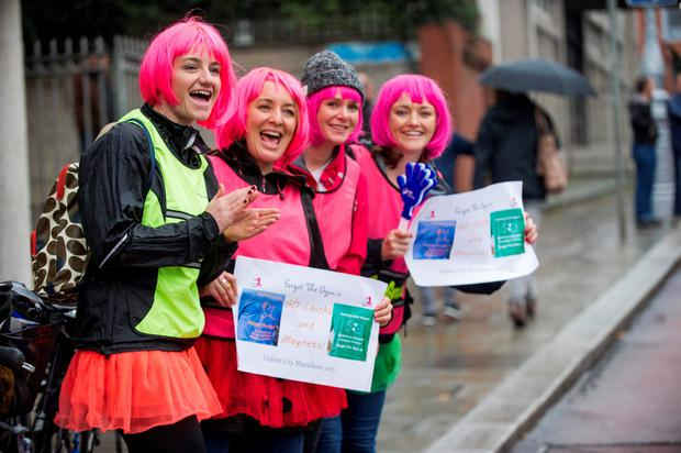 Monday 26 October 2015. Dublin City Marathon. (forgetthegym.ie) supporters for Mary Jennings Running Group for first time marathon runners.