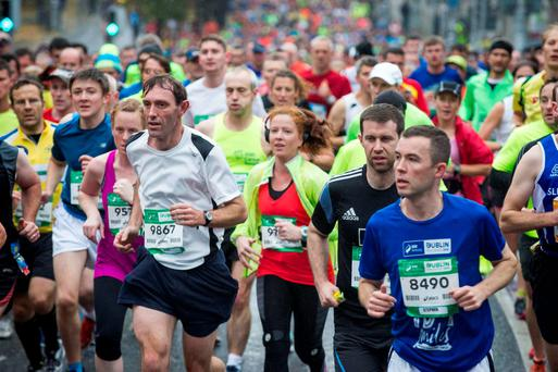 Monday 26 October 2015. Dublin City Marathon runners