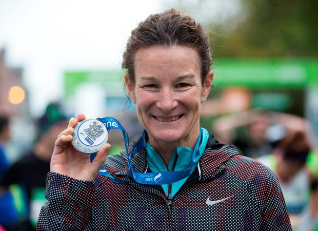 Sonia O'Sullivan after taking part in the 2015 SSE Airtricity Dublin Marathon today. 26/10/2015 Picture by Fergal Phillips