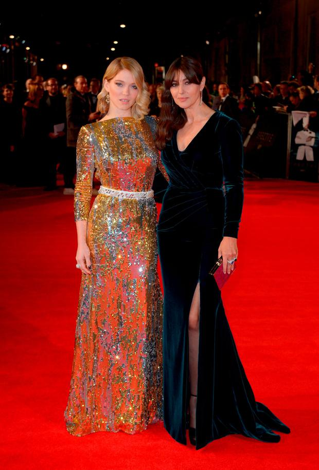 Lea Seydoux (left) and Monica Bellucci attending the World Premiere of Spectre, held at the Royal Albert Hall in London. PRESS ASSOCIATION Photo. Picture date: Monday October 26, 2015. See PA Story: SHOWBIZ Bond. Photo credit should read: Anthony Devlin/PA Wire