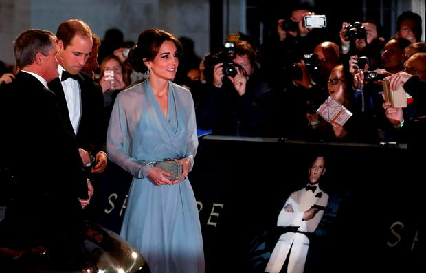 Prince William (2nd L) and Catherine Duchess of Cambridge (3rd L) attend the world premiere of the new James Bond 007 film