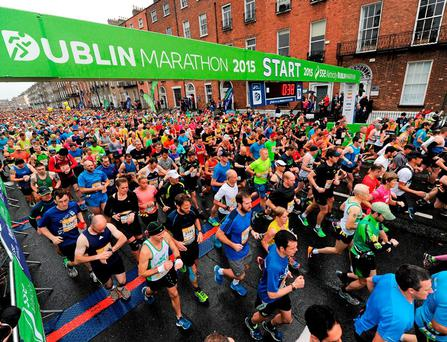 Competitors at the start-line to begin 2015's SSE Airtricity Dublin marathon