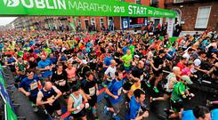 Competitors at the start-line to begin yesterday's SSE Airtricity Dublin marathon