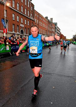 Debutant Joe Davitt, from Co. Dublin, in action during the Dublin City Marathon