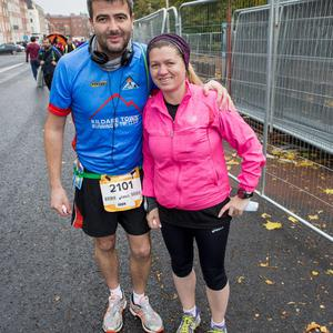 Monday 26 October 2015. Dublin City Marathon runners: Sandra and Gavin Burke, Co. Kildare.
