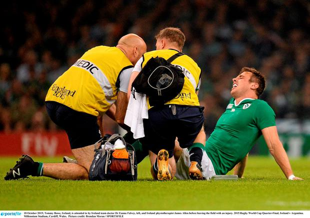 Tommy Bowe is attended to by Ireland team doctor Dr Eanna Falvey after succumbing to injury against Argentina