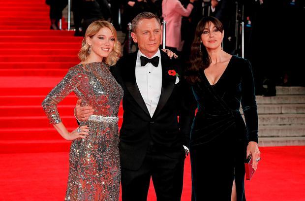 Lea Seydoux, Daniel Craig and Monica Bellucci attend the Royal Film Performance of