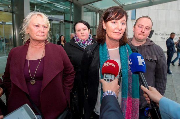David Byrne's aunts Angela Byrne, Christine Keogh speaking to media after leaving court where Marcus Kirwan lost his appeal
