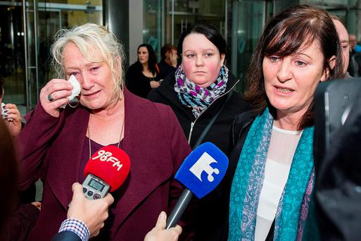 David Byrne's aunts Angela Byrne , Christine Keogh speaking to media after leaving court where Marcus Kirwan lost his appeal