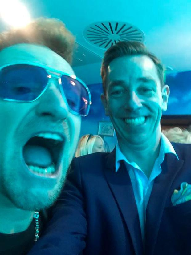 Ryan Tubridy hangs with Bono at U2's London gig