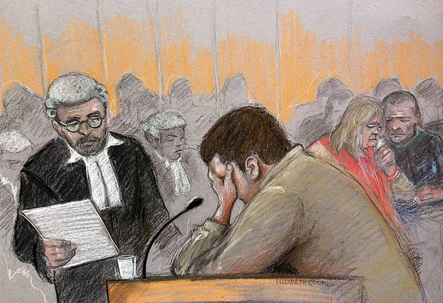 Court artist sketch by Elizabeth Cook of Nathan Matthews crying in the dock as Adam Vaitilingam QC (left) looks on at Bristol Crown Court, as he told the jury he did not intend to murder his stepsister Becky Watts. Photo: Elizabeth Cook/PA Wire