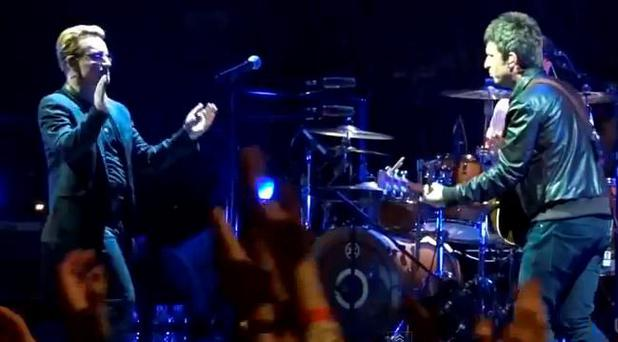 Noel Gallagher appears on stage with U2 at London's O2