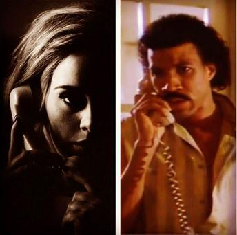 Adele and Lionel Richie in their respective 'Hello' videos. PIC: Lionel Richie instagram