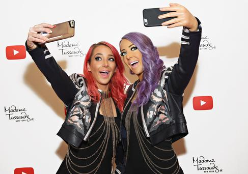 NEW YORK, NY - OCTOBER 26: YouTube sensation Jenna Marbles (L) poses with a never-before-seen