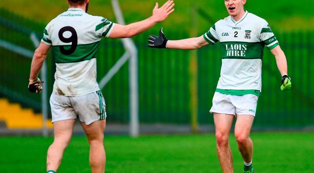 Cahir Healy, left, and David Seale celebrate after Portlaoise complete a 20-hour double with victories over Emo and Palatine