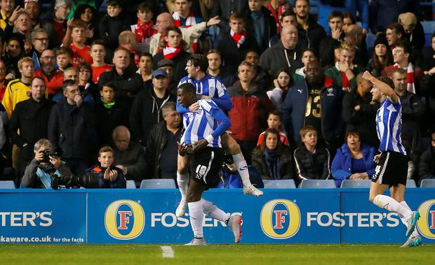 Lucas Joao celebrates scoring the second goal for Sheffield Wednesday