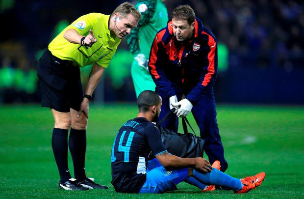 Theo Walcott was forced off through injury