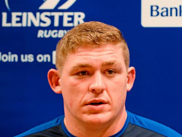 Leinster's Tadhg Furlong, pictured speaking at a press conference yesterday, will be looking to move past Mike Ross and Marty Moore