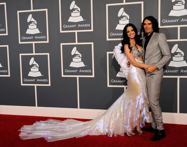 Singer Katy Perry and actor Russell Brand arrive at The 53rd Annual GRAMMY Awards held at Staples Center on February 13, 2011 in Los Angeles, California. (Photo by Jason Merritt/Getty Images)