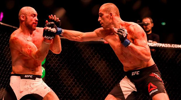 24 October 2015; Tom Breese, right, in action against Cathal Pendred. UFC Fight Night. 3Arena, Dublin. Picture credit: Stephen McCarthy / SPORTSFILE