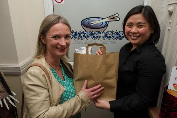 Candy See Fen Wong of Chopsticks restaurant in Skerries with Emily Diebold.
