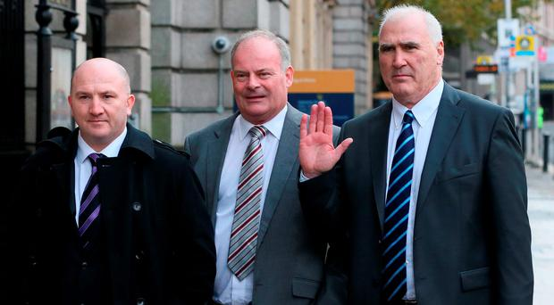 Irish Amateur Boxing Association (IABA) officials (left to right) Fergal Carruth, Pat Ryan and Joe Christle arrive at Leinster House in Dublin to appear before the Joint Committee on Transport and Communications Photo: Niall Carson/PA Wire
