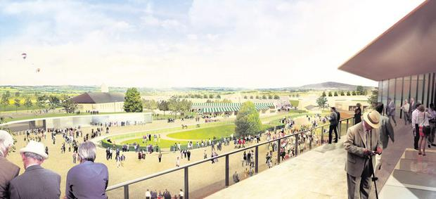 An artists's impression of the view from the terrace of the new parade ring in the proposed new €65m Curragh racecourse complex