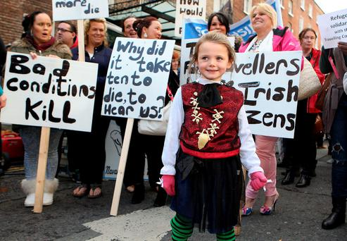 Áilíse Berry (6) from Ballyfermot at the gathering of Travellers at Leinster House to demand action on Traveller accommodation in the wake of the Carrickmines fire Photo: Tom Burke