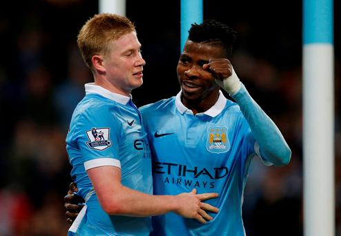 Manchester City's Kevin De Bruyne celebrates scoring their second goal with Kelechi Iheanacho Reuters / Andrew Yates