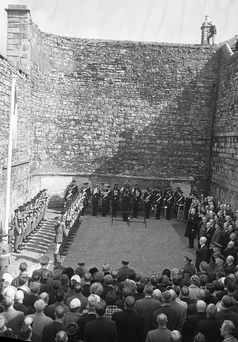 President Eamon de Valera lays a wreath at Kilmainham Gaol to mark the 50th anniversary of the Easter Rising in 1966