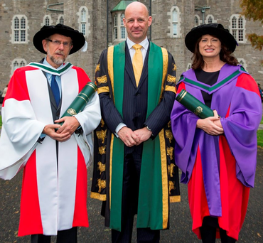 Prof Philip Nolan, President of Maynooth University, with philosopher Prof William Desmond and Emily Logan, first Chief Commissioner of the Irish Human Rights and Equality