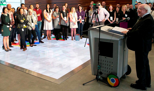 President Michael D Higgins addresses workers during a visit to the Google offices in California