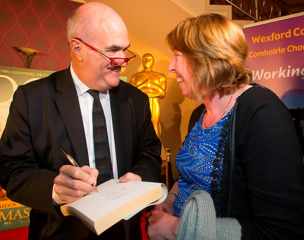 Author Colm Toibín with fan Ann Cushen at the 'Brooklyn' screening