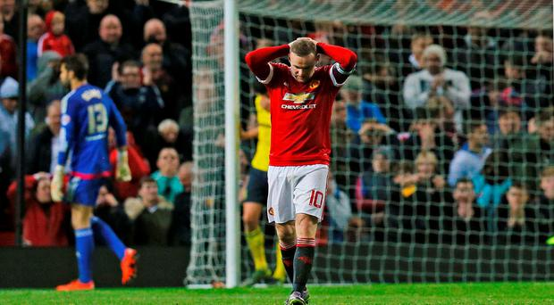Manchester United's Wayne Rooney looks dejected Action Images via Reuters / Jason Cairnduff