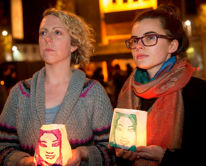 Jacinta Fay and Mariel Whelan at a vigil for Savita Halappanavar at Eyre Square in Galway yesterday Photo: Andrew Downes