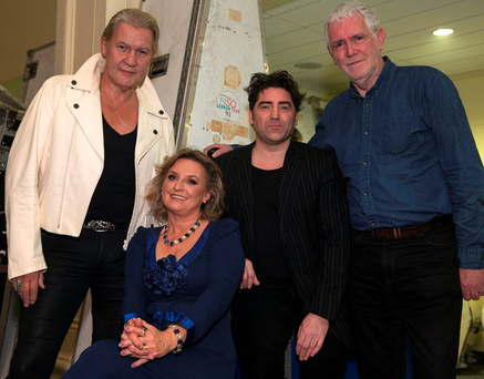 Johnny Logan, Rebecca Storm, Brian Kennedy and Charlie McGettigan at the Irish Jukebox Heroes concert at the National Concert Hall in Dublin Photo: Arthur Carron