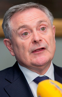 20/10/2015 Minister for Public Expenditure Brendan Howlin TD speaking to media during the launch of a new Budget 2016 calculator at The Merrion Hotel, Dublin. The calculator, available on labour.ie/budget2016, helps people assess how much their take-home pay will increase as a result of the latest budgetary measures. Photo: Gareth Chaney Collins