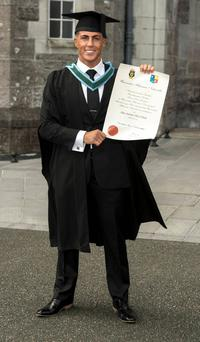 Big Brother star Marc O'Neill graduates from Maynooth University with a 1st Class Honours Degree in Organic Chemistry & Molecular Biology and poses with fellow graduates
