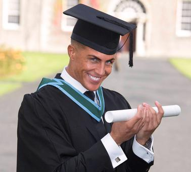 Big Brother star Marc O'Neill graduates from Maynooth University with a 1st Class Honours Degree in Organic Chemistry & Molecular Biology and poses with fellow graduates, Maynooth, Co. Kildare
