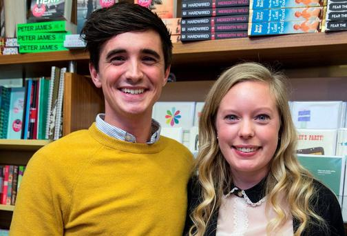 Donal Skehan and his wife Sofie at a signing for his book 'Fresh' at Dubray Books in Dublin yesterday Photo: Arthur Carron