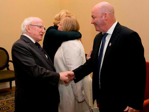 President Higgins attends a reception for first responders, medical staff and volunteers who were involved in the Berkeley tragedy in June, which caused the death and injury to Irish students, who were in the area on J1 visas. Pictured is Jackie and George Donohue with President Higgins and Sabina Higgins. Picture by Shane O'Neill / Copyright Fennell Photography 2015.
