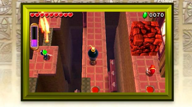 Legend of Zelda Triforce Heroes: Cooperate to solve puzzles