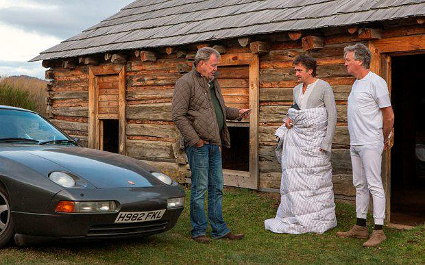 Jeremy Clarkson, Richard Hammond, James May and the infamous Porsche Photo: BBC