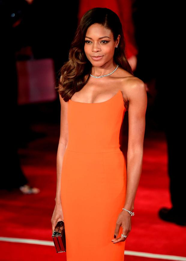 British actress Naomie Harris poses on arrival for the world premiere of the new James Bond film 'Spectre' at the Royal Albert Hall in London