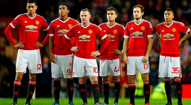Manchester United players during the penalty shootout Reuters / Darren Staples