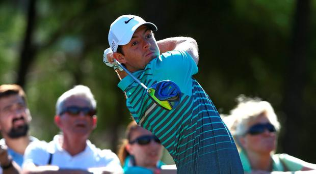 Rory McIlroy in action on the second hole during the first round of the Turkish Airlines Open