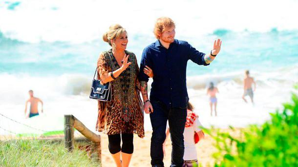 Ed Sheeran with Home and Away star Marilyn Chambers, played by Emily Symons.