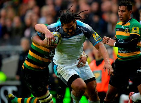 Alesana Tuilagi in action for Newcastle Falcons in their 42-16 defeat away to Northampton Saints last weekend