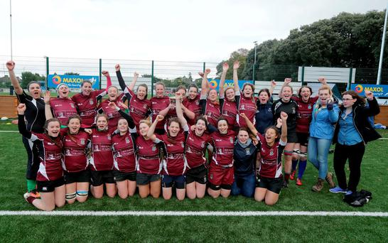 NUIG Ladies celebrate their Kay Bowen Cup three-in-a-row at the Irish Universities Rugby Union Festival of Rugby at Terenure